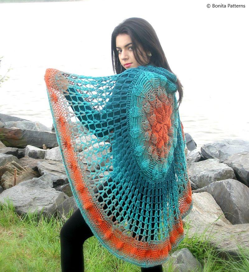 Embossed Circular Poncho Crochet Pattern