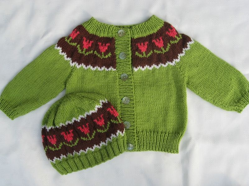 Fair Isle Inspired baby Cardigans Free Knitting Patterns