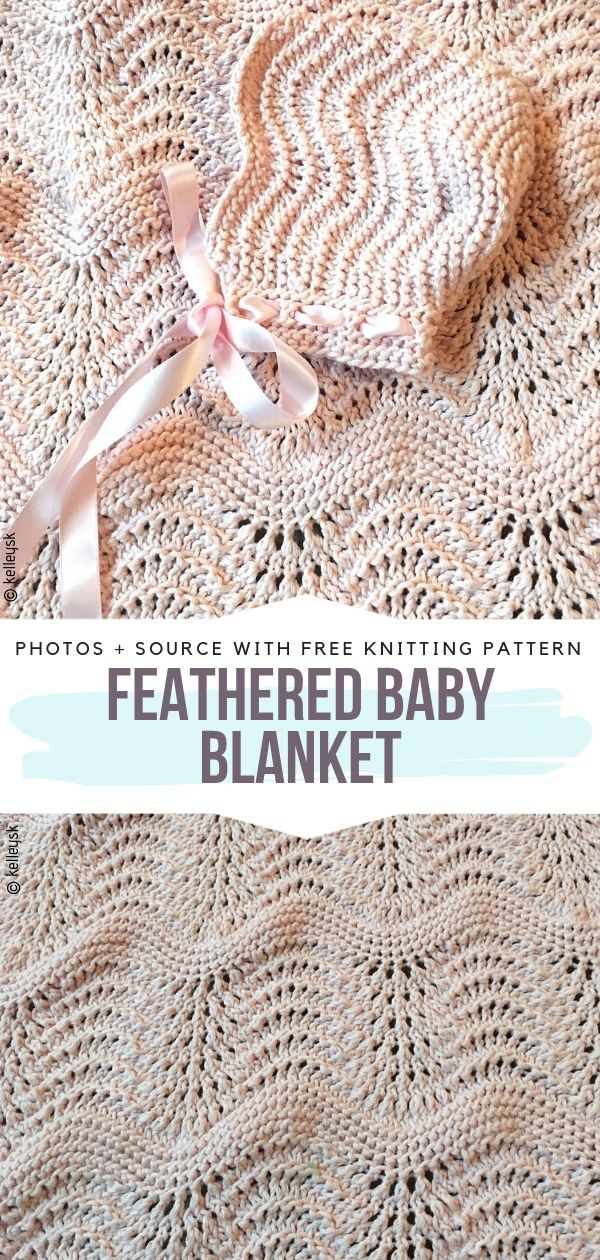 Feathered Baby Blanket Free Knitting Pattern