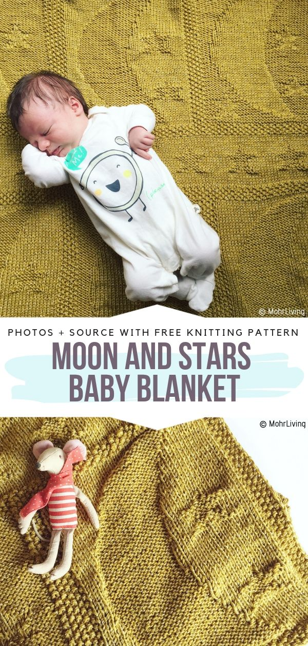 Moon and Stars Baby Blanket Free Knitting Pattern