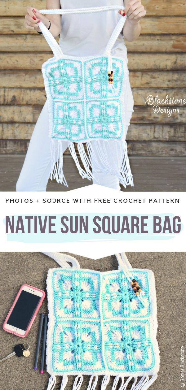 Native Sun Square Bag Free Crochet Pattern