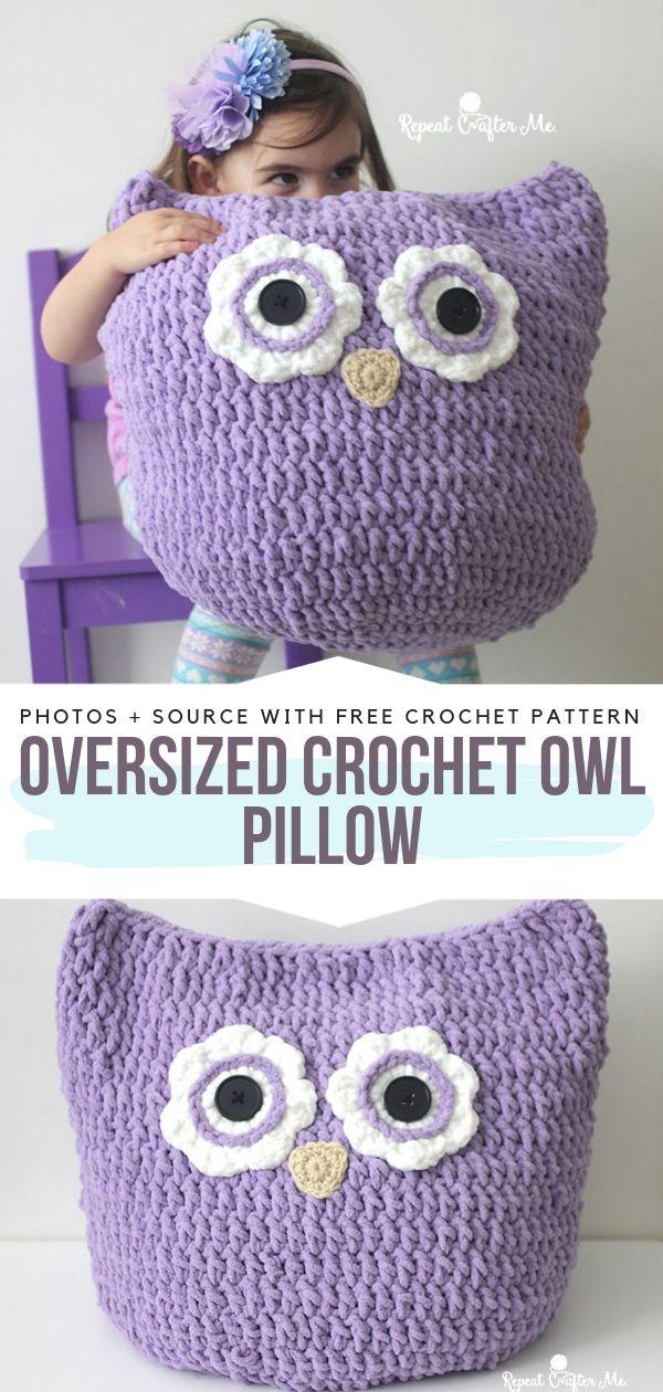 Oversized Crochet Owl Pillow Free Pattern