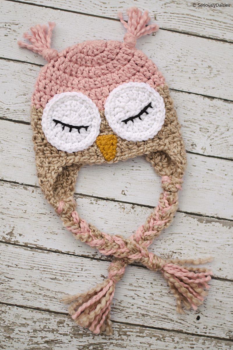 Pink & Tan Owl Hat Free Crochet Pattern