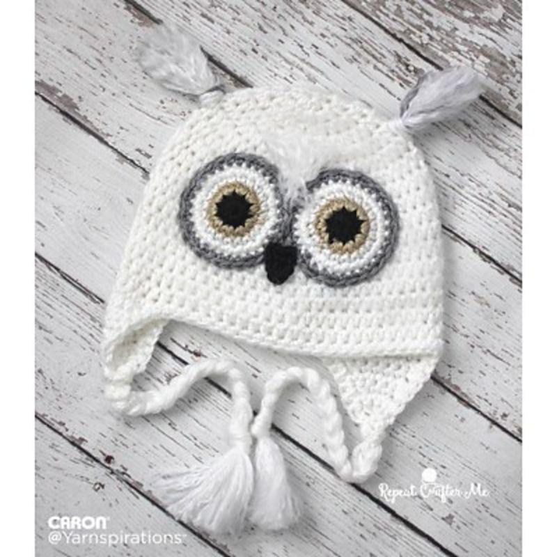 Snowy Owl Crochet Hat Free Pattern