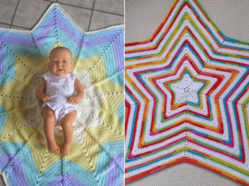 Star Shaped baby Blankets Free Crochet Patterns