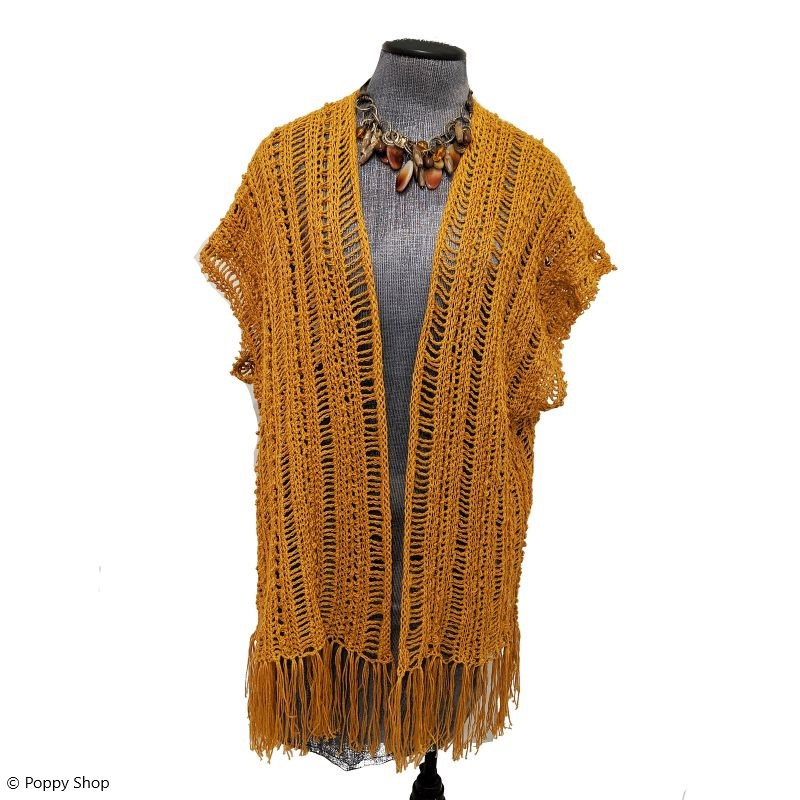 Crocheted cardigan with a fringe