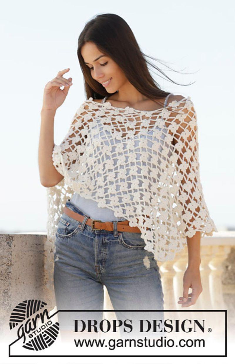Lacy Poncho Sweet Jasmine Free Crochet Pattern