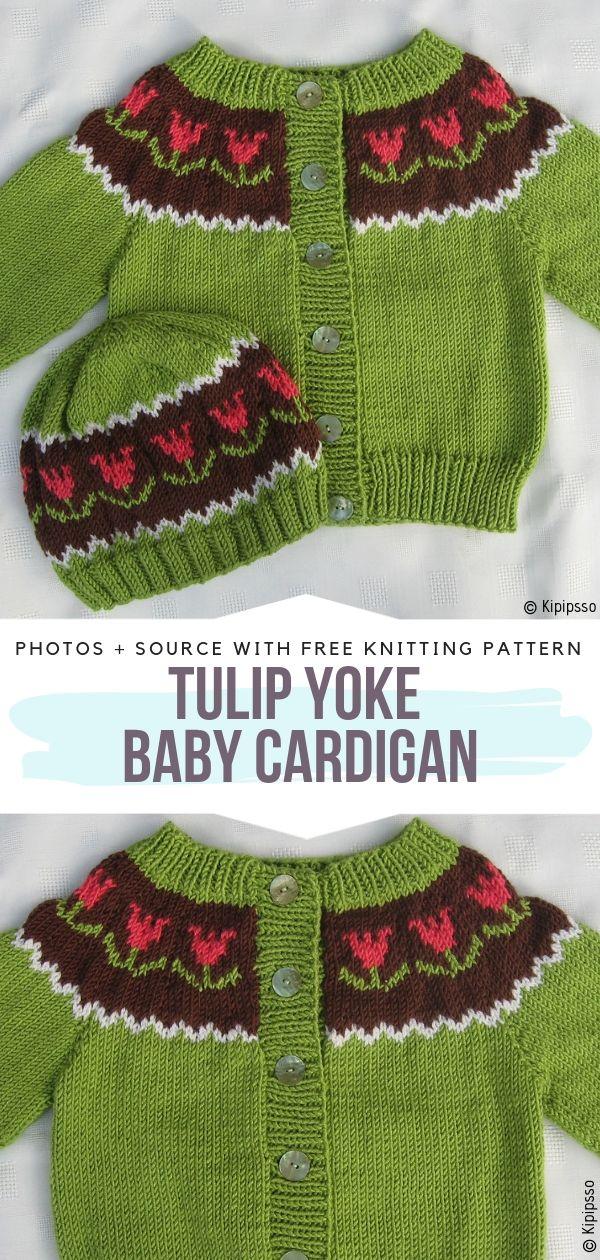 Tulip Yoke Baby Cardigan Free Knitting Pattern