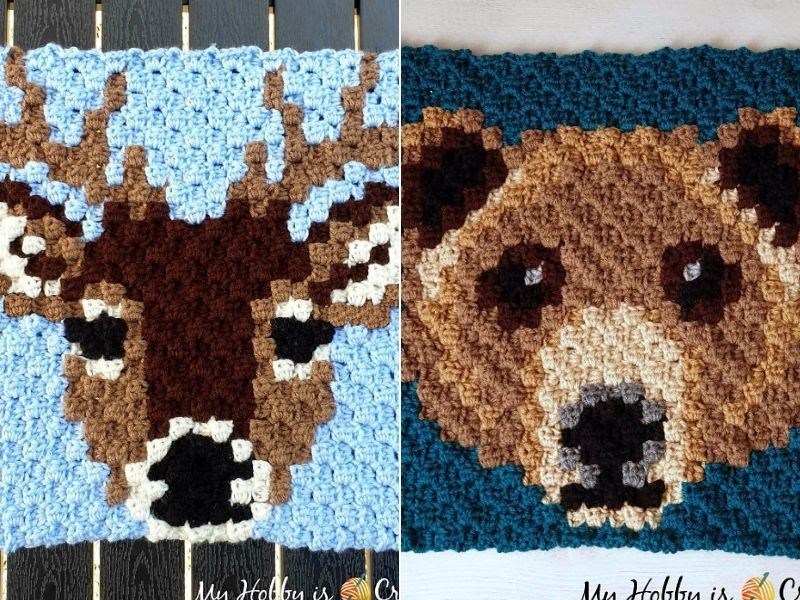 Woodland C2C Squares Free Crochet Patterns
