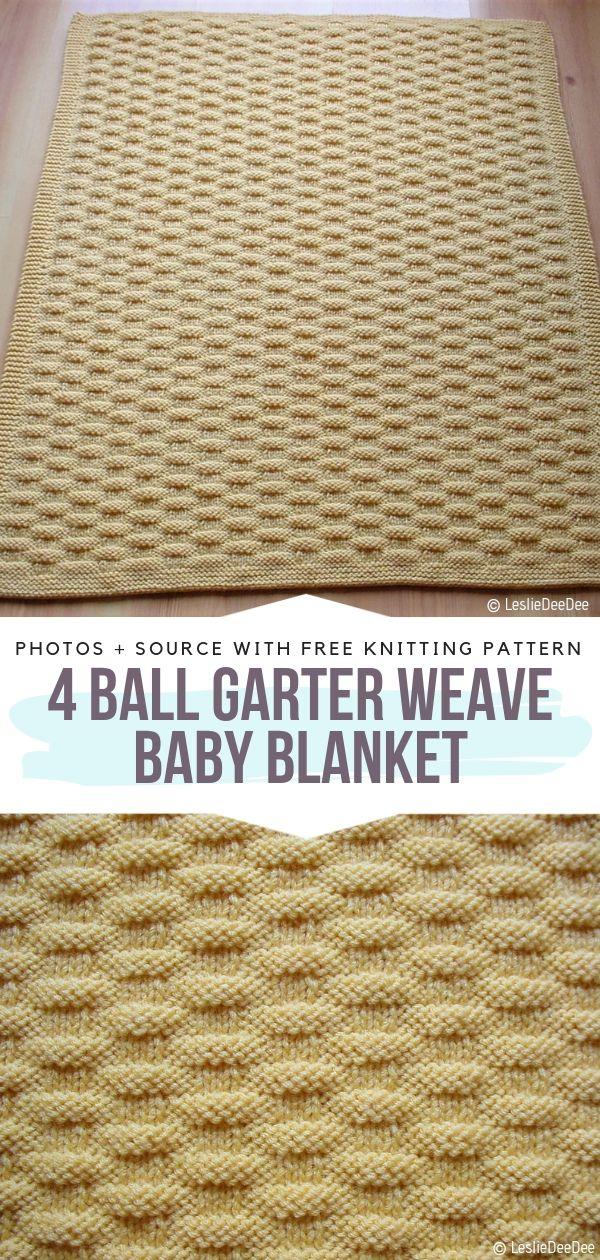 4 Ball Garter Weave Baby Blanket Free Knitting Pattern