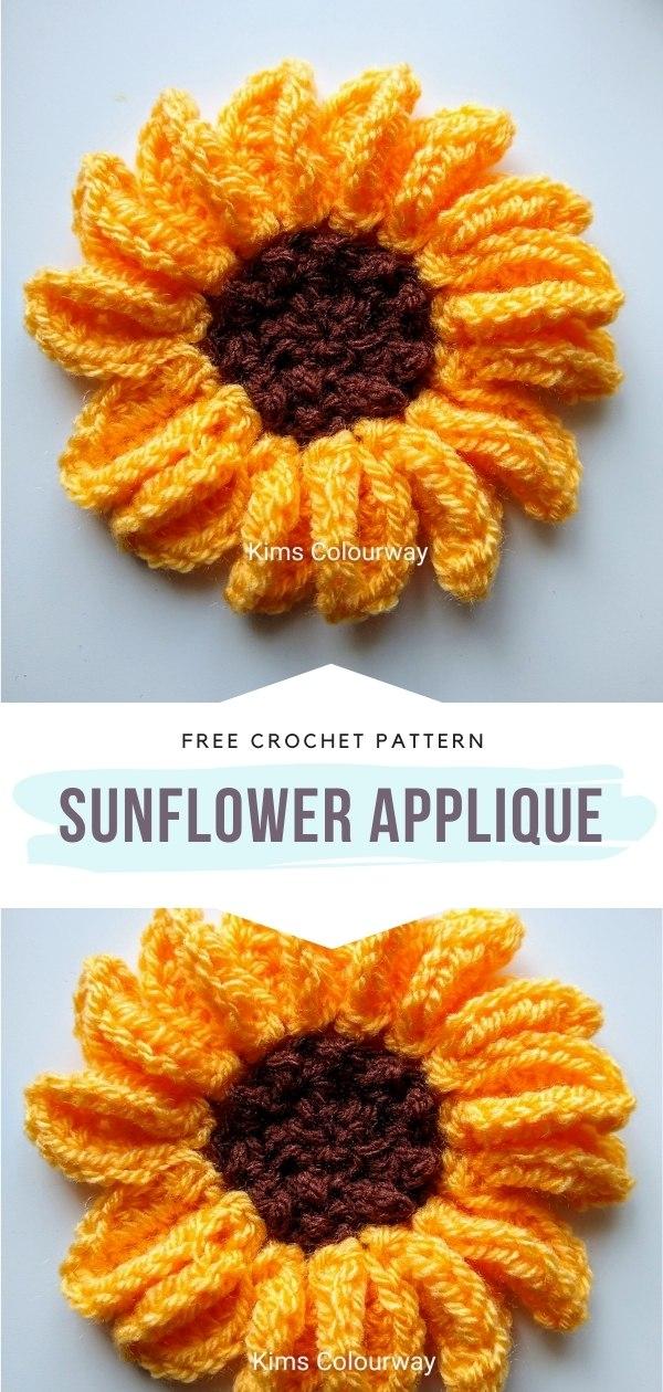 Crochet Sunflower Applique