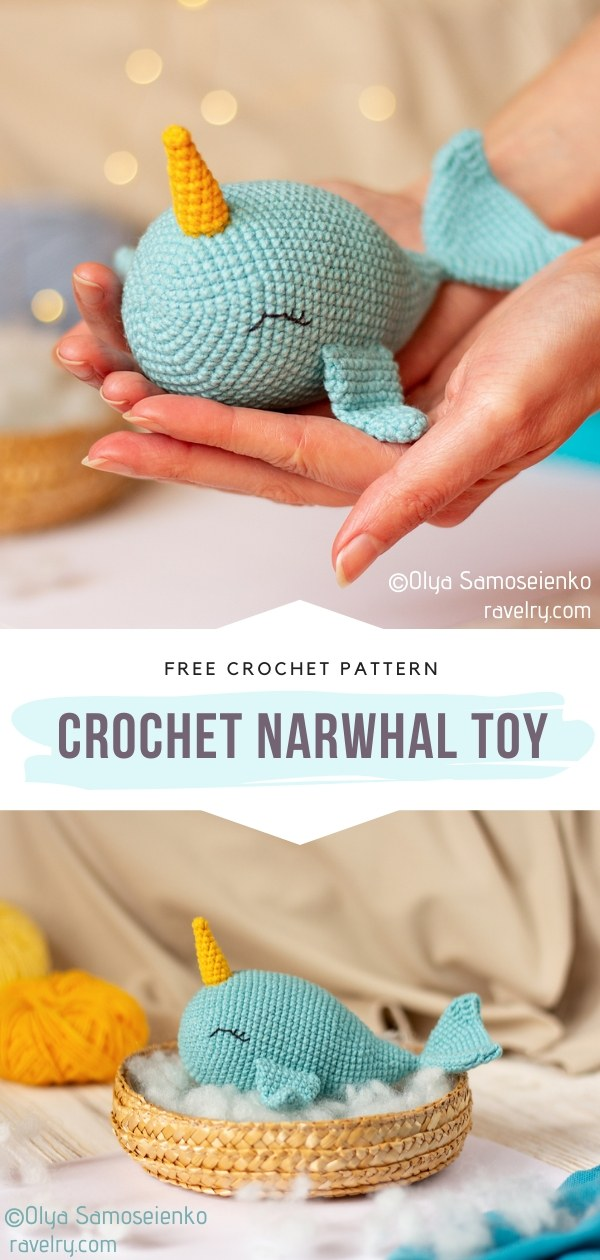 Crochet narwhal toy