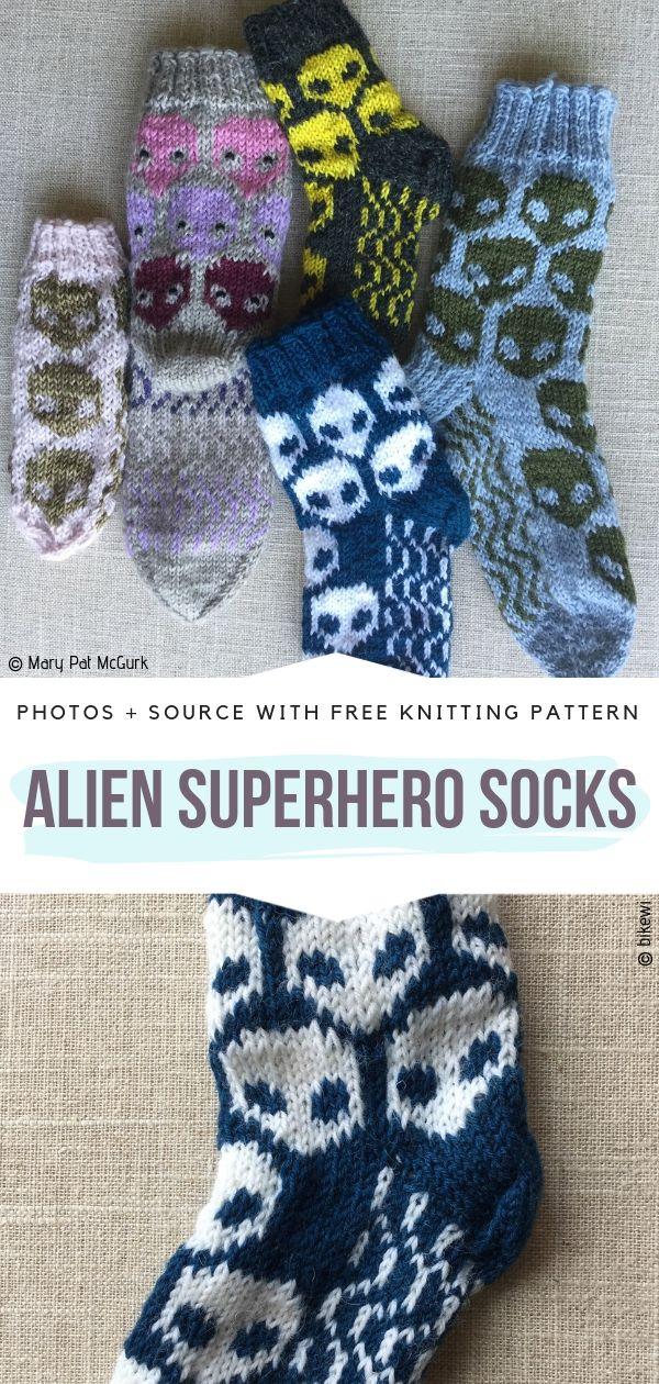 Alien Superhero Socks Free Knitting Pattern
