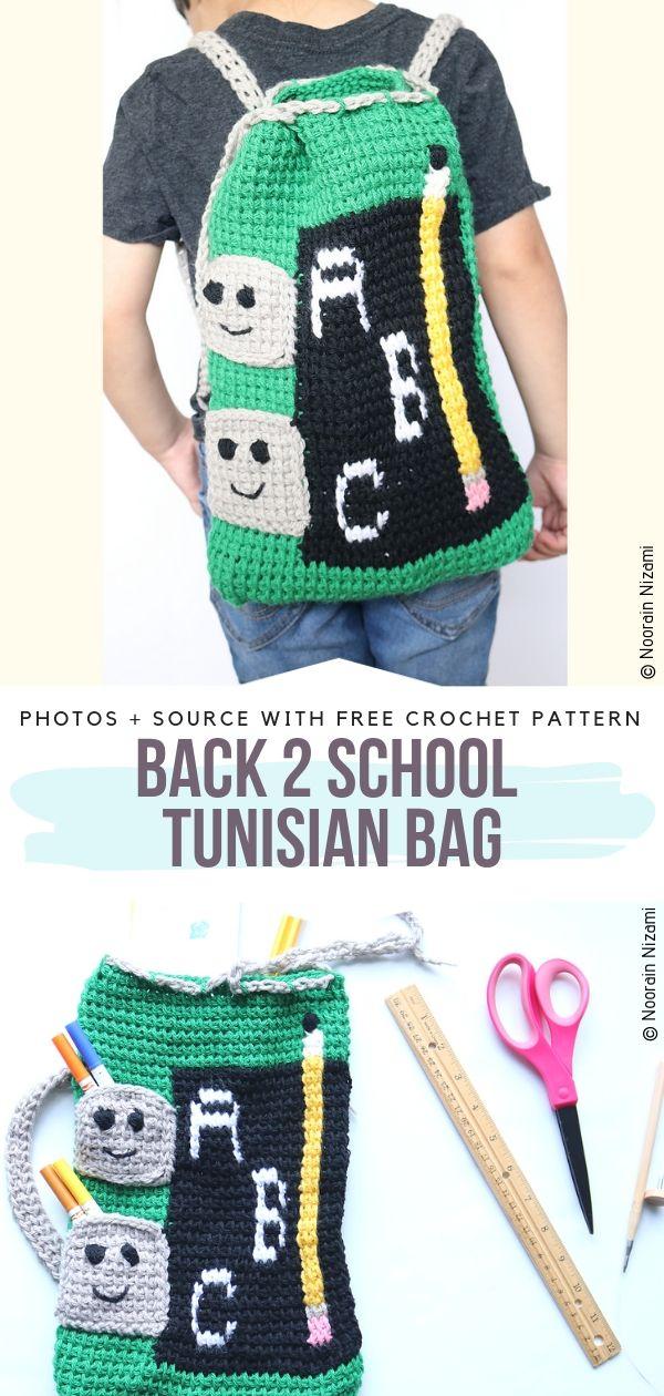 Back 2 School Tunisian Bag Free Crochet Pattern