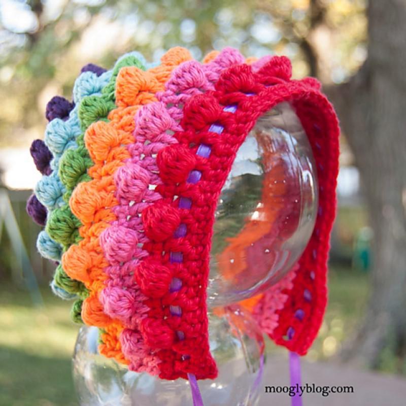 Blackberry Salad Striped Baby Bonnet Free Crochet Pattern
