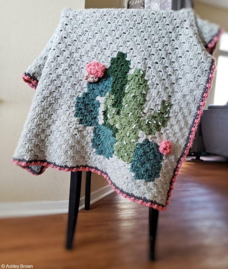 Clustered Cactus Corner 2 Corner Crochet Blanket Free Pattern