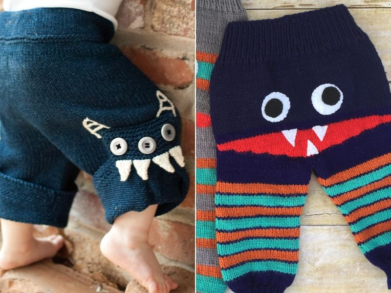 Cute Knitted Monster Pants Free Patterns