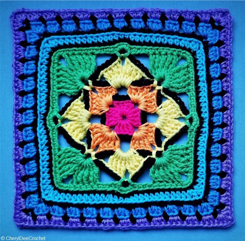Four Diamonds Granny Square Crochet Pattern