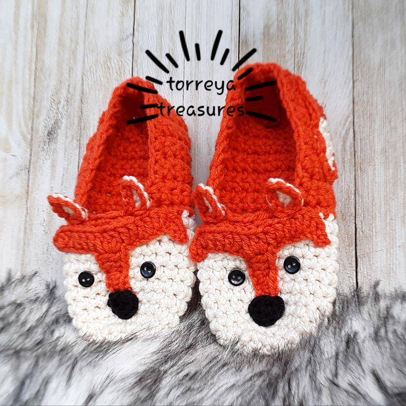 Fox-in-Socks Kids Slippers Crochet Pattern