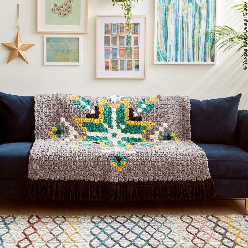 Geo Folk C2C Afghan Free Crochet Pattern