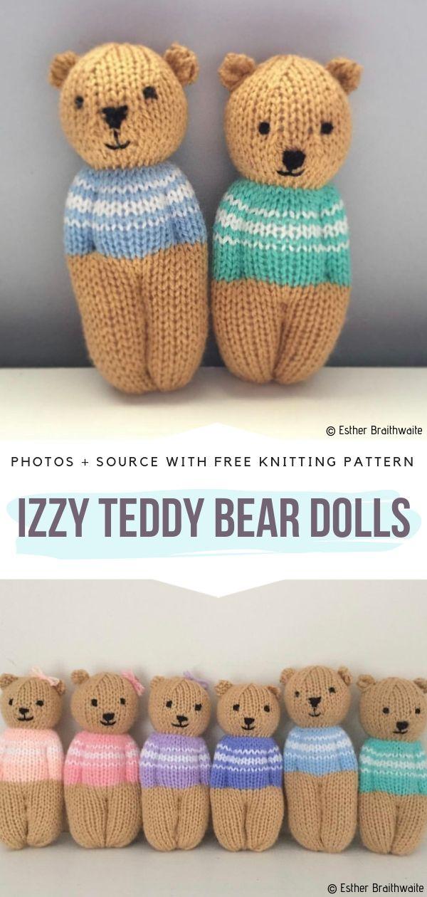 Izzy Teddy Bear Dolls Free Knitting Pattern