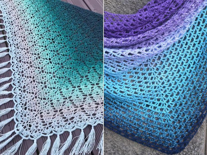 Lacy Gradient Shawls Free Crochet Patterns