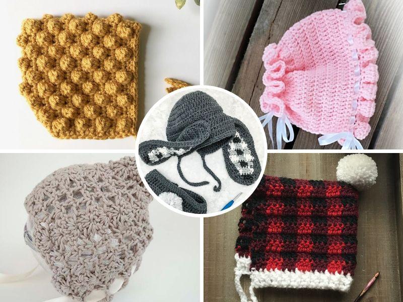 Lovely Crochet Baby Bonnets