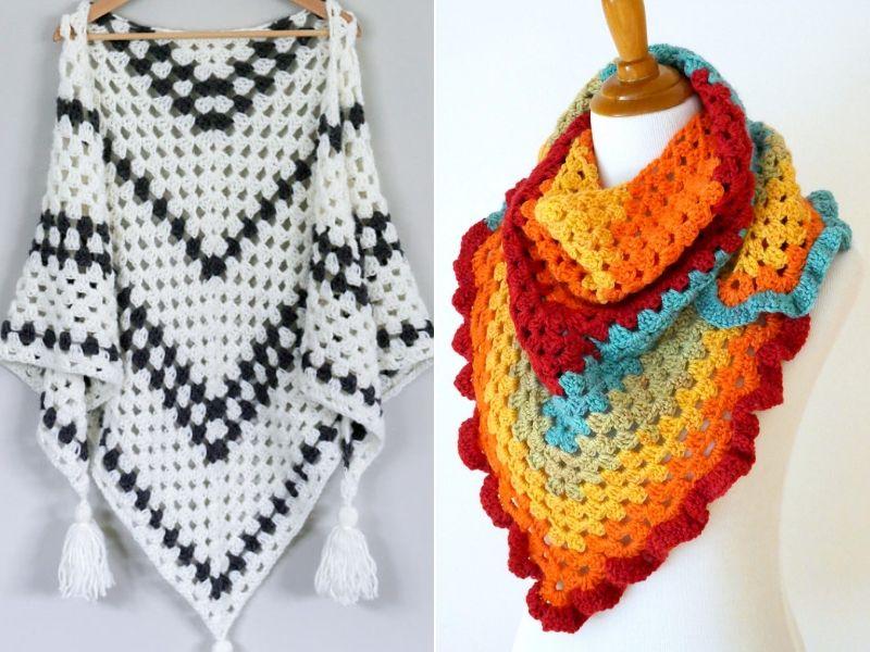 Modern Granny Shawls Free Crochet Patterns