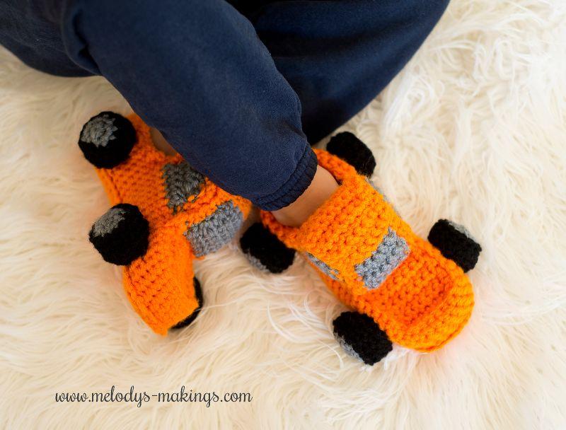 Monster Truck Slippers Free Crochet Pattern