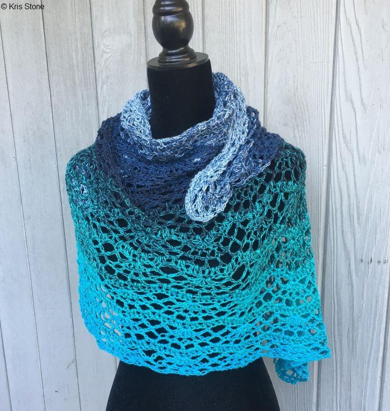 Ocean Waves Shawl Free Crochet Pattern