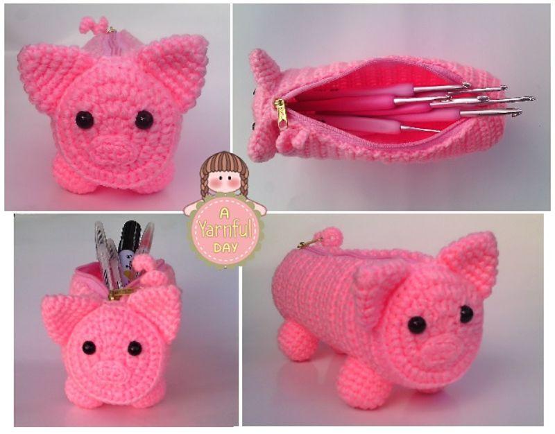 Crochet Pig Pouch