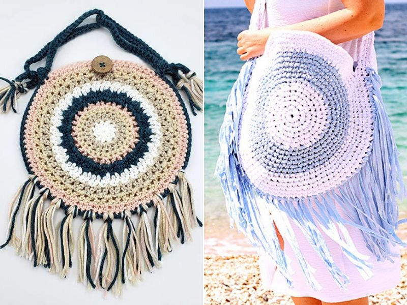 Round Boho Bags Free Crochet Patterns