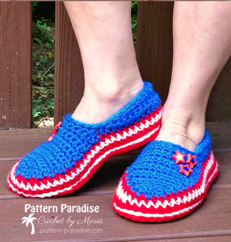 Stars and Stripes Slippers Free Crochet Pattern