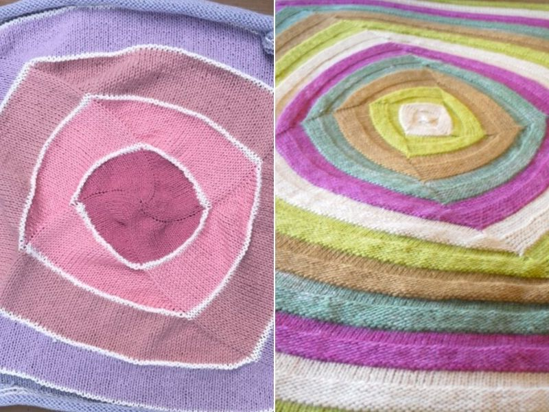 Swirly Knitted Square Blankets Free Patterns