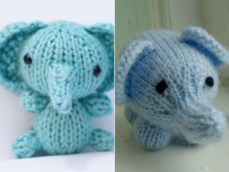 Tiny Knitted Elephants Free Patterns