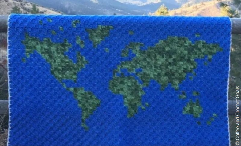 World Map Corner to Corner Crochet Blanket Free Pattern