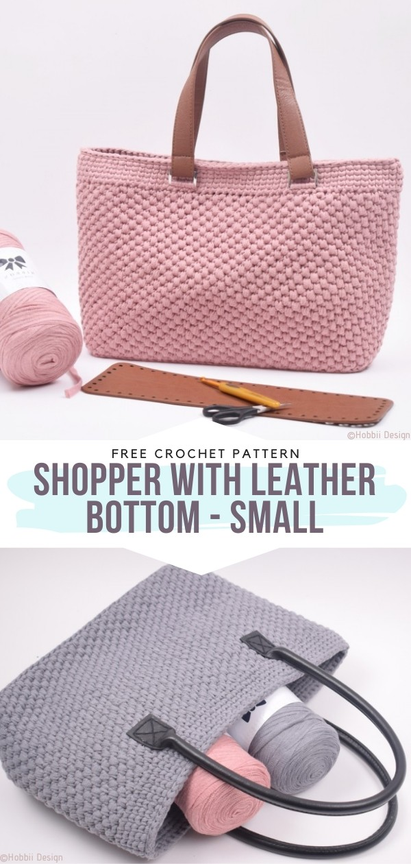 Crochet Shopper with Leather Bottom