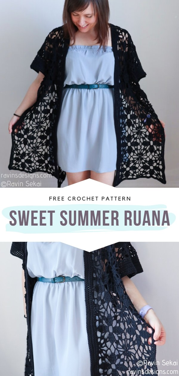 Sweet Summer Ruana Lacy Crochet Cardigan