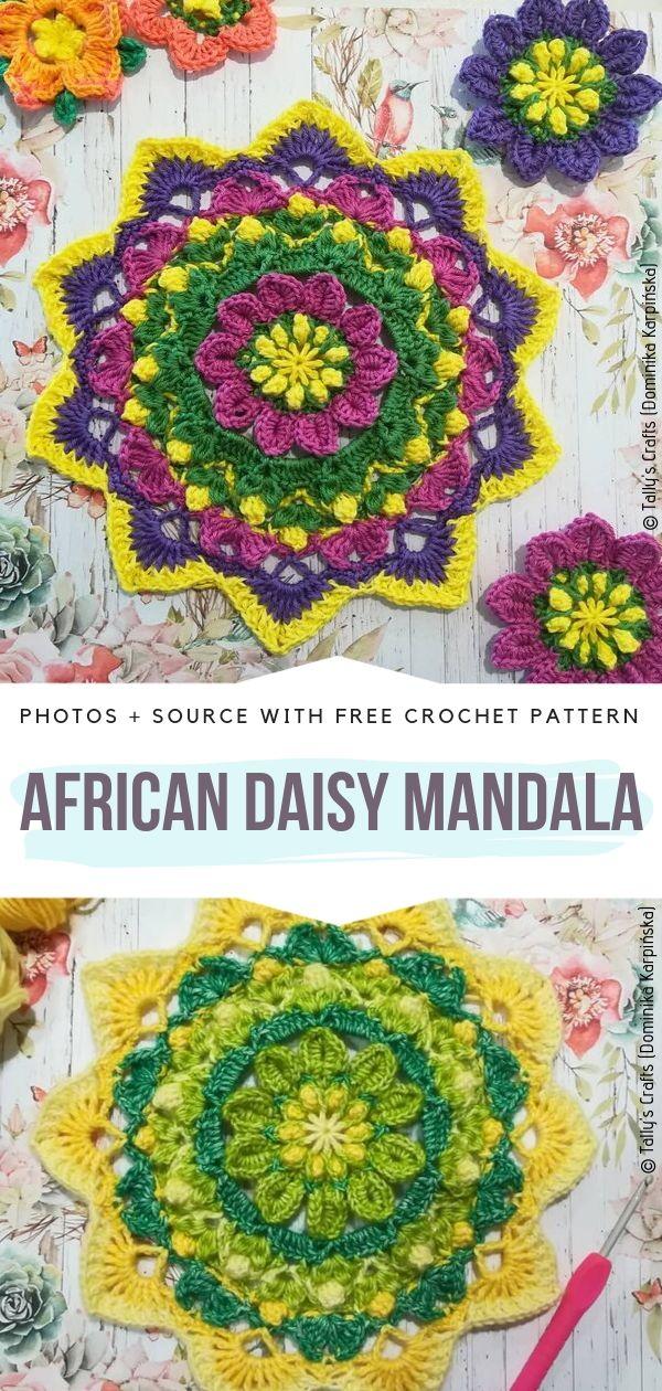 African Daisy Mandala Free Crochet Pattern
