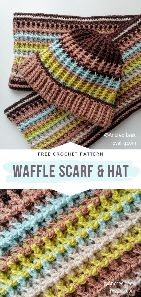 Waffle Stitch Scarf & Hat