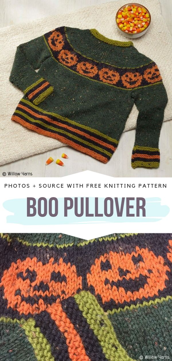 Boo Pullover Free Knitting Pattern