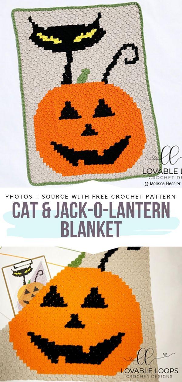 Cat & Jack-o-Lantern Blanket Free Crochet Pattern