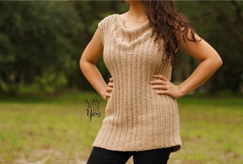 Cowl Neck Tee Free Crochet Pattern