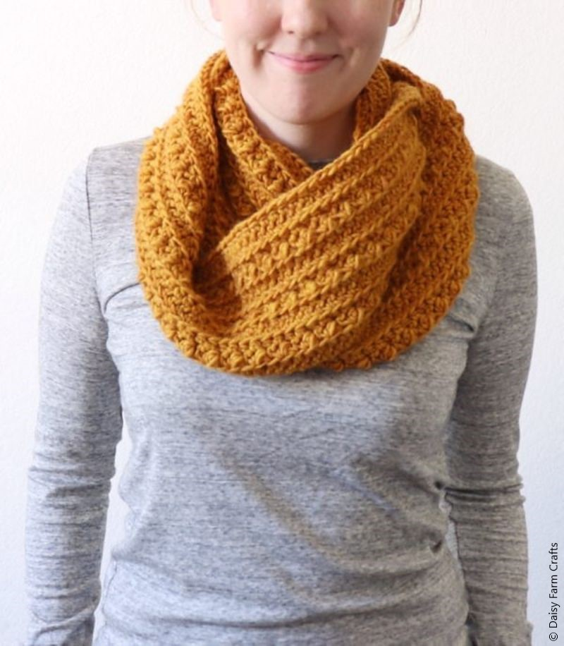 Crochet Cluster Stitch Infinity Scarf Free Pattern