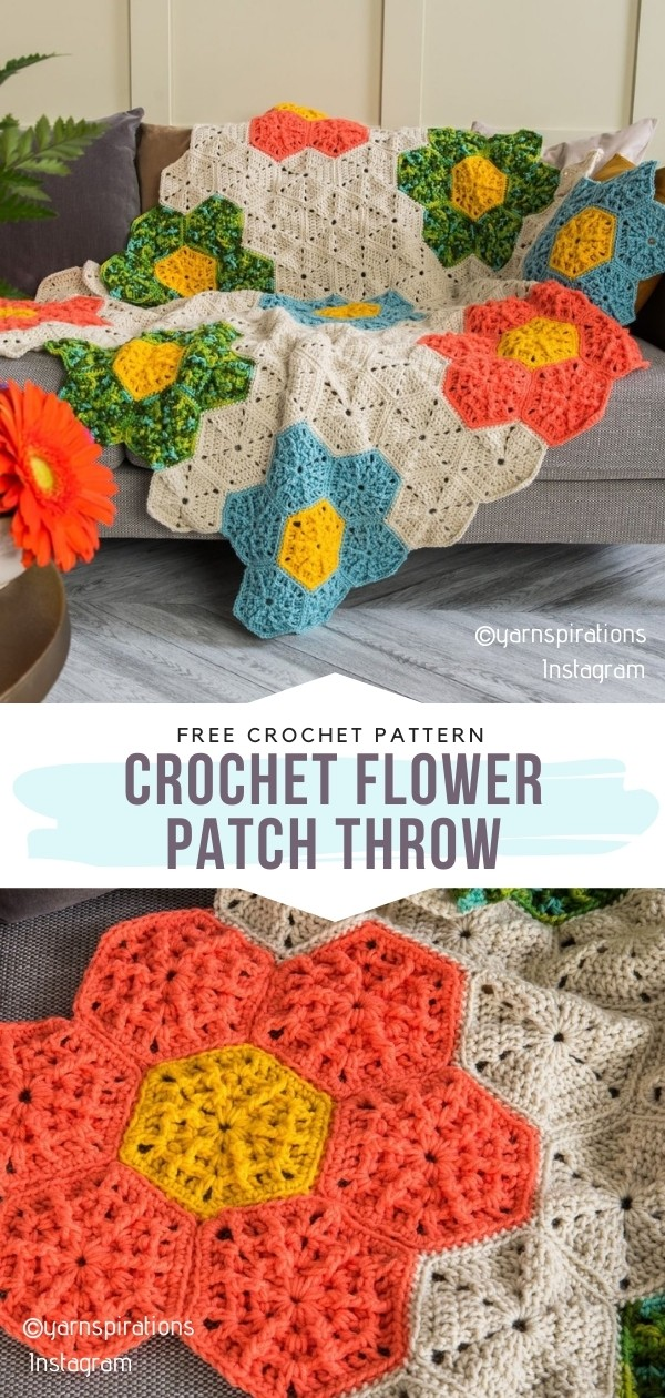 Crochet Flower Patch Throw