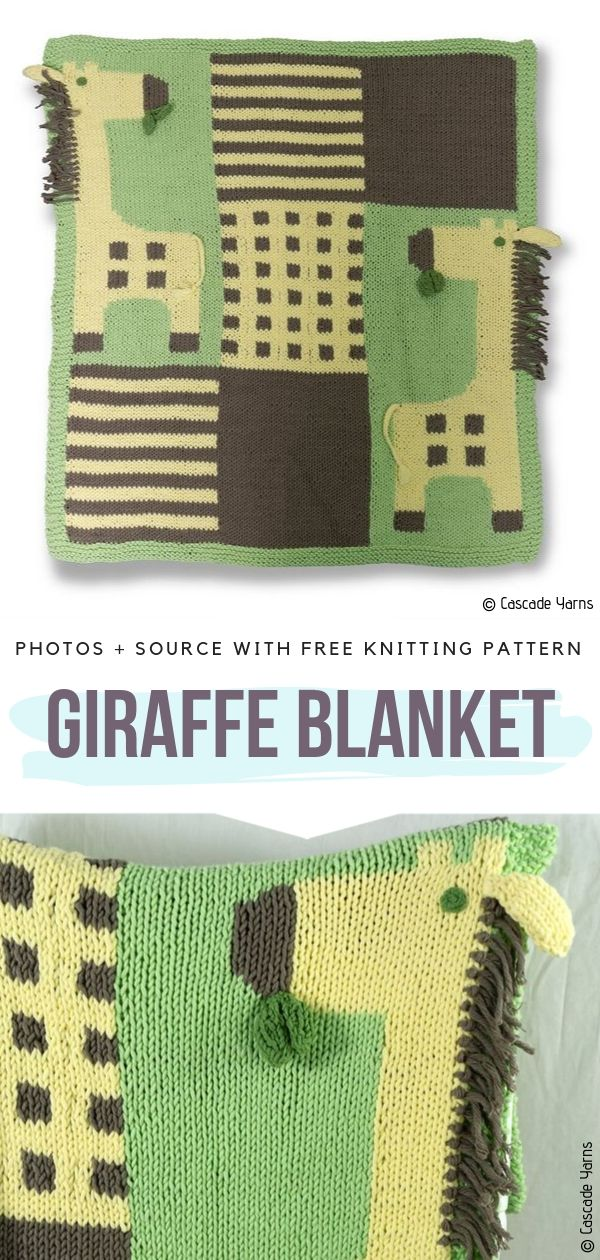 Knitted Blanket with a Giraffe
