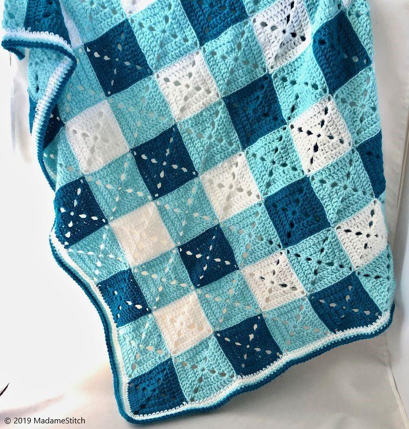 Granny Gingham Baby Blanket Crochet Pattern