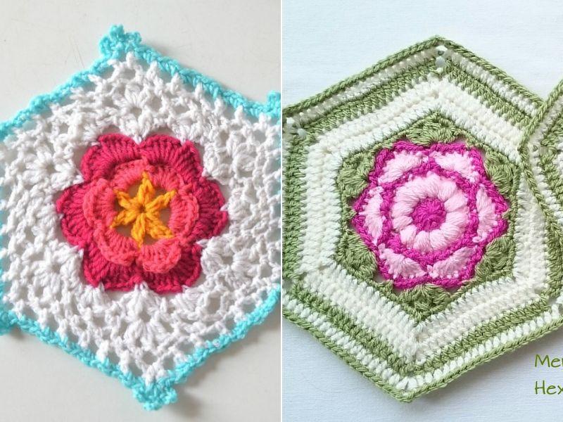 Intricate Flower Hexagons Free Crochet Patterns