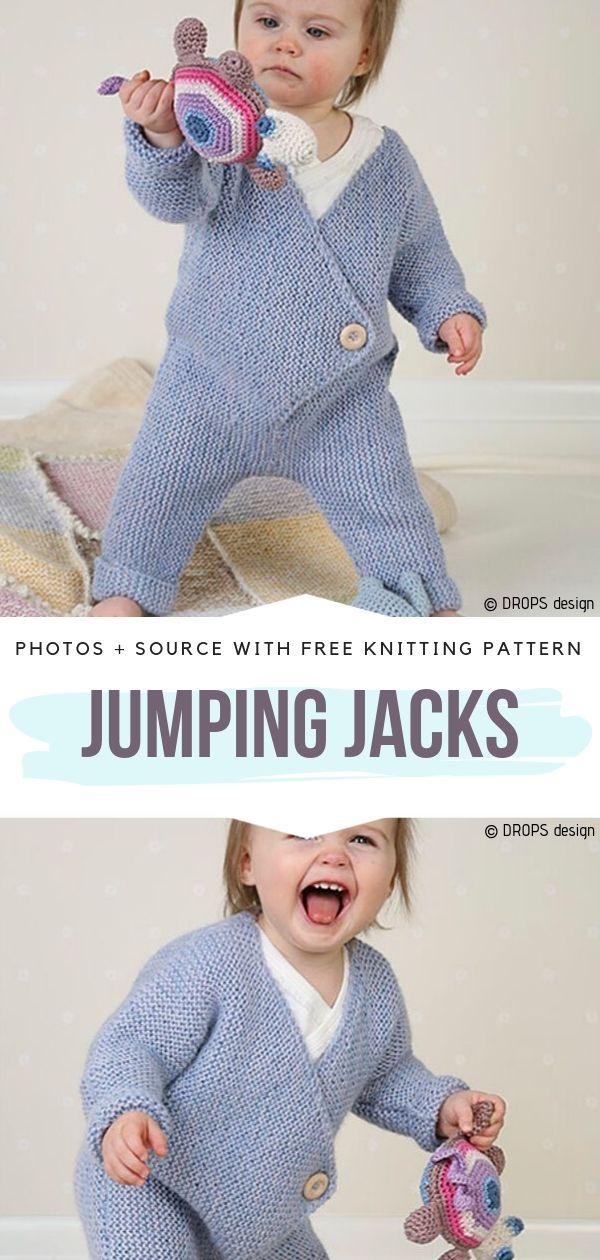 Cute Onesie Jumping Jacks Free Knitting Pattern