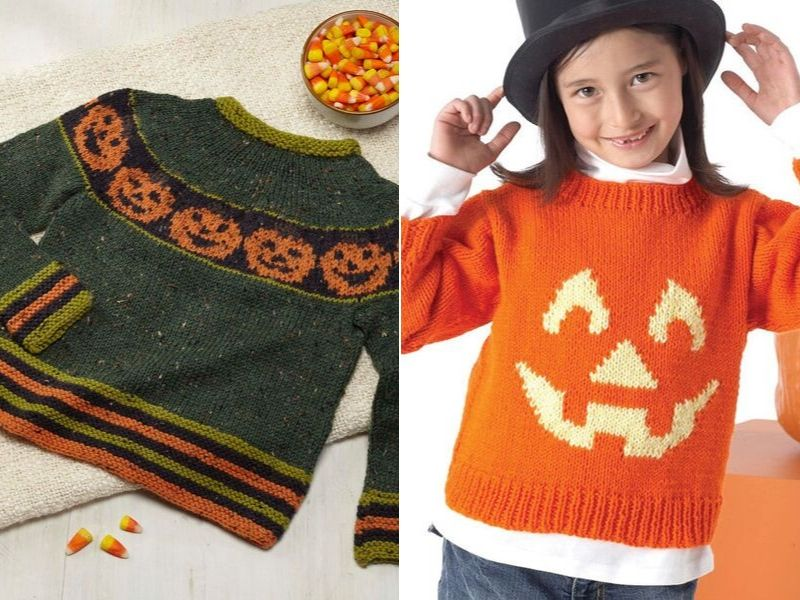 Knitted Pumpkin Pullovers Free Patterns